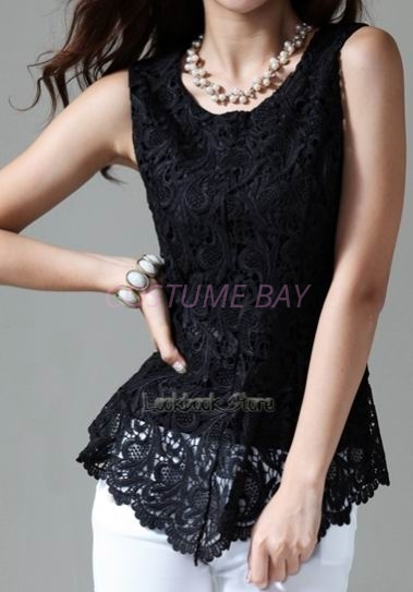 Picture of Sleeveless Floral Top-Black
