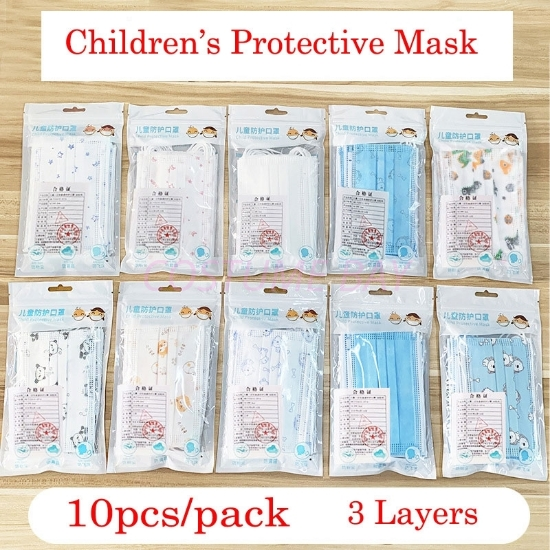 Picture of 10pcs Kids Disposable 3 Layers Protective Face Masks