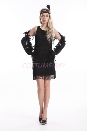 Picture of 1920's Charleston Flapper Dress Two Shoulders - Black