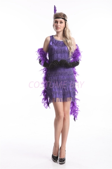 Picture of 1920's Charleston Flapper Dress Two Shoulders - Purple