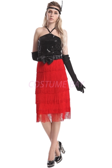 Picture of 1920's Charleston Flapper Dress - Red/Black