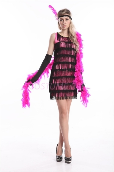 Picture of 1920's Charleston Flapper Dress Two Shoulders - Pink