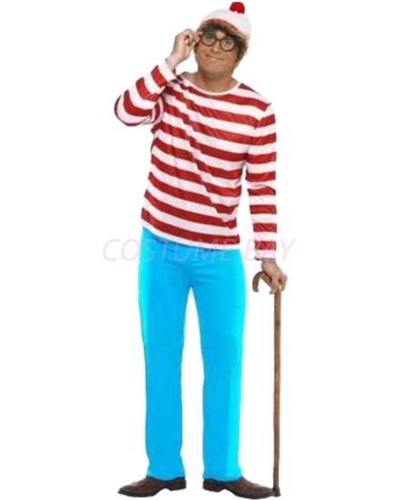 Picture of Red and White Stripes Wally Mens Costume