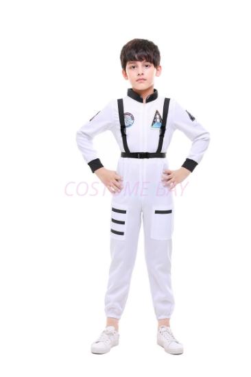 Picture of Boys White Pilot Astronaut Jumpsuit Costume
