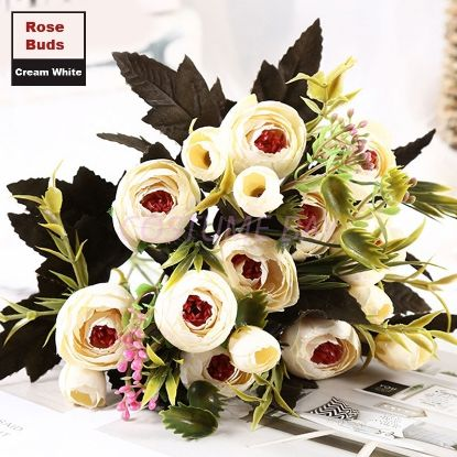 Picture of 2pcs Bouquet 8 Heads 5 Branches Artificial Roses Flowers - White