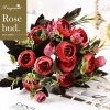 Picture of 2pcs Bouquet 8 Heads 5 Branches Artificial Roses Flowers - Wine Red