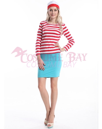 Picture of Red and White Stripes Where's Wally Womens Top with Hat