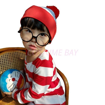 Picture of Kids Wheres Wally Costume with Hat