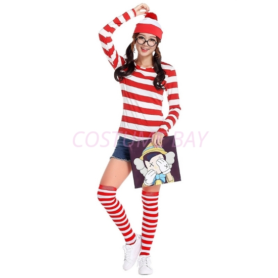 Picture of Red and White Stripes Wally Women Costume Set