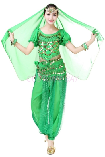 Picture of Women's Belly Dance Two Pieces Outfits-Green