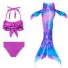 Picture of Kids Girls 3pcs Set Mermaid Tail Swimming Costume - PURPLE