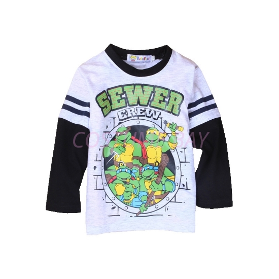 Picture of Boys Grey Ninja Turtle  T-Shirt with Black Long Sleeves