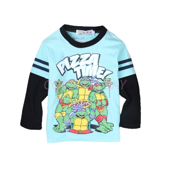 Picture of Boys Blue Ninja Turtle T-Shirt with Black Long Sleeves