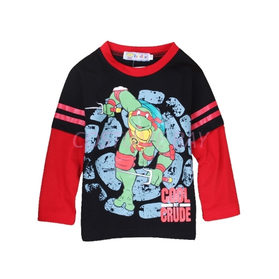 Picture of Boys Black Ninja Turtle T-Shirt with Red Long Sleeves
