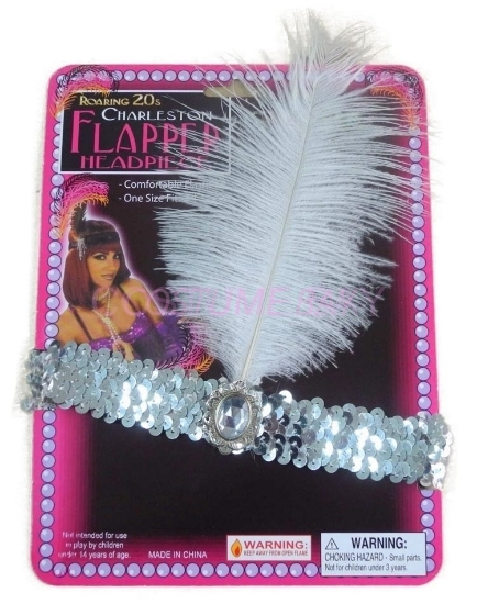 Picture of 1920's Charleston Flapper Headband with Feather - Silver