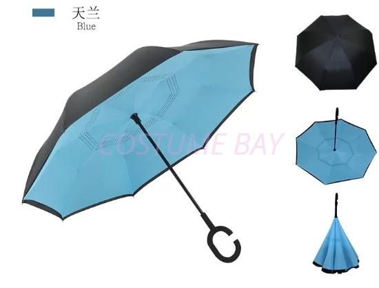 Picture of Upside Down C-Handle Reverse Umbrella - Blue