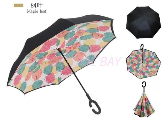Picture of Upside Down C-Handle Reverse Umbrella -Maple Leave