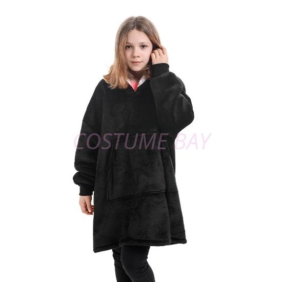 Picture of Kids Blanket Hoodie -Black