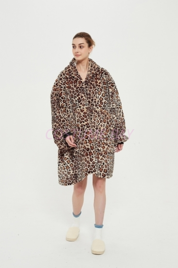 Picture of Oversized Winter Blanket Hoodie - Leopard