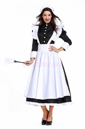 Picture of Ladies Lolita Oktoberfest Bavarian Beer Maid  Costume Black Dress with White Apron