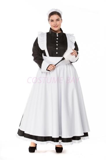 Picture of Ladies Lolita Oktoberfest Bavarian Beer Maid  Costume Black Dress with White Apron - Size Plus