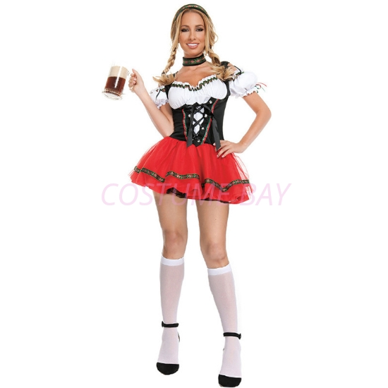 Picture of Ladies Oktoberfest Bavarian Beer Maid  Costume with White Stocking