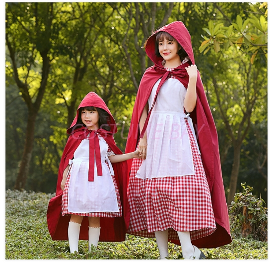 Picture of Mother and Daughter Little Red Riding Hood Dress With detached Cape
